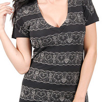 Lovelorn Lace Print Deep-V Tee