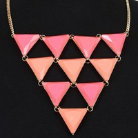 Pink Inverted Linked Triangle Necklace and Shop Accessories at MakeMeChic.com