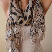 Mother&#x27;s Day - Elegant and Leopard Scarf - Gift - Beige and Brown - Silk - Chiffon with Beige Trim Edge