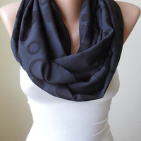 Mother's Day -Infinity Scarf - Circle Scarf  -  Loop Scarf - Black Scarf - Chiffon Fabric