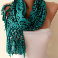 Mother&#x27;s Day - Green/Black Leopard Scarf - Combed Cotton Scarf - Gift