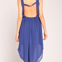 Hi Low Backless Dress in Blue
