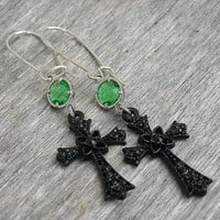 Black Cross Earrings, Cross Earrings, Emerald Earrings, Green Peridot Earrings, Gothic, Goth, Rocker Jewelry, Rocker Earrings,