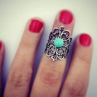 alapop  silver filigree and turquoise knuckle ring