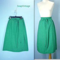70s Wrap Around Skirt / Vintage Green Skirt / High Waist Skirt / sm