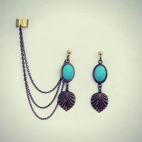 alapop  turquoise and art deco shell ear cuff earrings