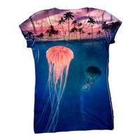 "Amazon.com: AnimalShirtsUSA-""Jellyfish Sky Palm Tree"" Womens Top - C-Neck T-Shirt: Clothing"