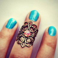 alapop — knuckle ring with pink fire opal