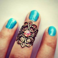 alapop  knuckle ring with pink fire opal