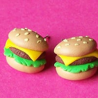 Hamburger earrings polymer clay fimo handmade