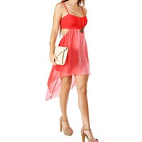 Coral Ombre Hi Low With Cut Out Sides Dress