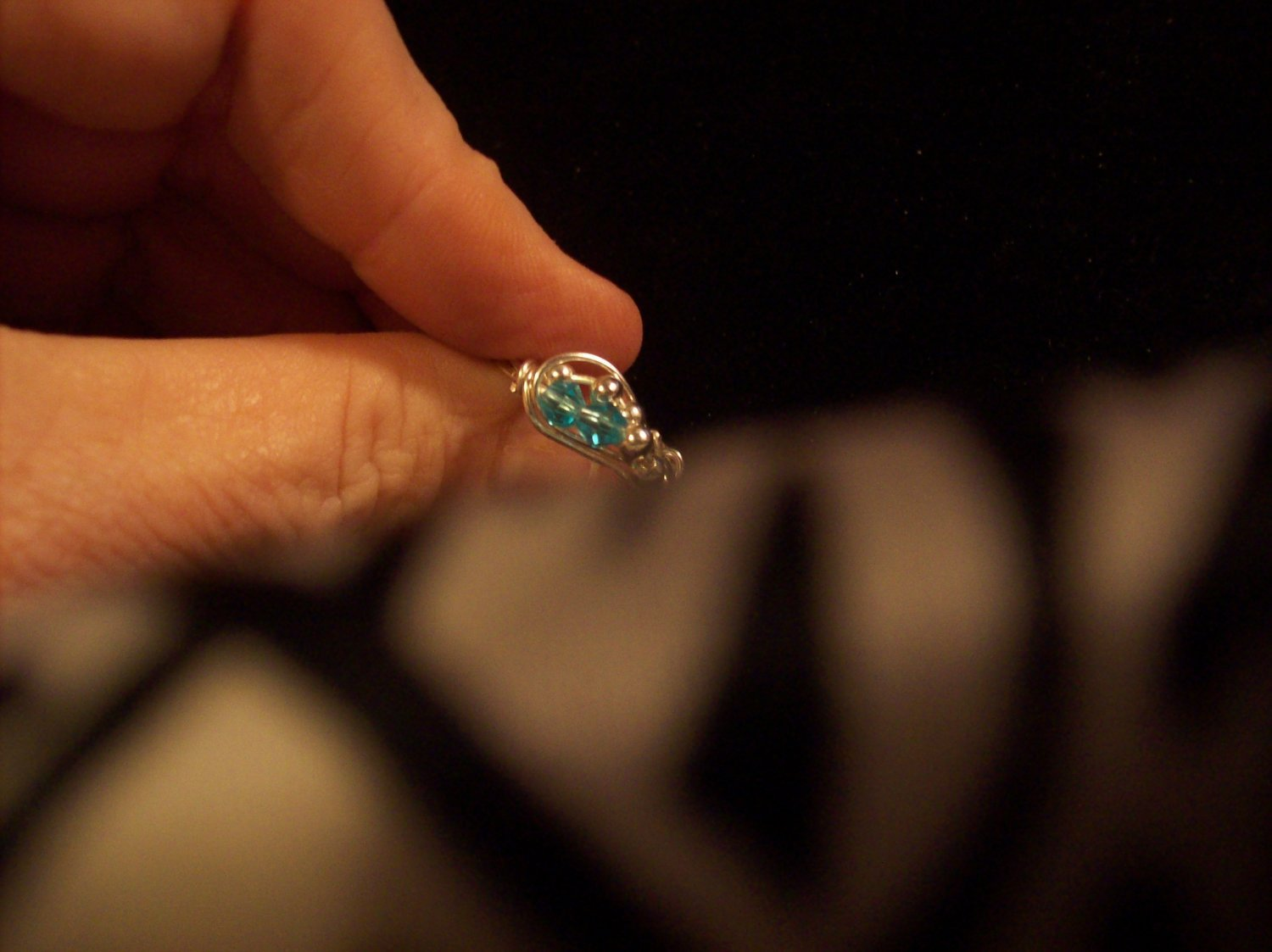 Blue Topaz Love Wave Ring