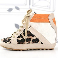 beige leopard lace up high top sneakers by richbong on Sense of Fashion