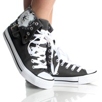 Gray Canvas Punk Hi Skate Skater Lace High Top Sneaker Womens Shoes