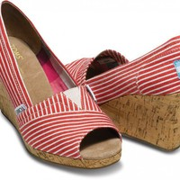 Wedges - Red Nautical Stripe Women's Wedges | TOMS.com