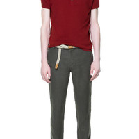 LINEN TROUSERS WITH BELT - Trousers - Man - ZARA United States