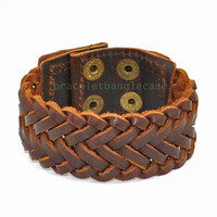 Brown leather woven wrist bracelet men cuff bracelet women wrist bracelet best friend gift  jewelry bangle  d-354