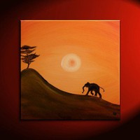 30x30 CUSTOM African Baby Elephant Silhouette Painting Acacia Tree | NathalieVan - Painting on ArtFire