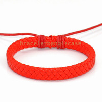 Red leather cuff bracelet with leather woven for women wrist bracelet girl friend gift  d-353