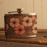 Poppy Garden Flask - Leather in pink and antique black | moxieandoliver - Housewares on ArtFire