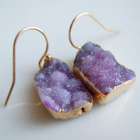 Druzy Earrings in Purple with Gold by 443Jewelry on Etsy