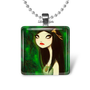 Dark fairy tales gothic woman green black glass tile necklace keychain