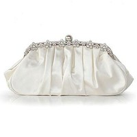 [21.33] Elegant White Silk With Austrian Rhinestones Evening Handbags /  Clutches - Dressilyme.com