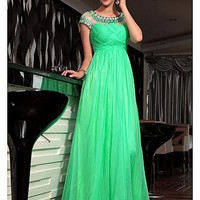 [269.99] In Stock Gorgeous A-line Jewel Neckline Cap Sleeve Raised Waist Ruffle Green Full Length Party Gown  - Dressilyme.com