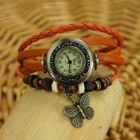 Ethnic Butterfly Pendant Braided Light Brown Wrap Watch