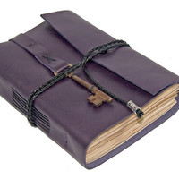 Purple Leather Journal with Tea Stained Pages and Skeleton Key Bookmark