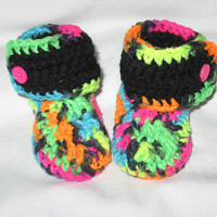 Neon and Black Baby Booties- Photo Prop Ready to ship