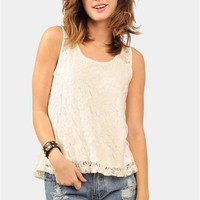 Lace Her Up Tank - Cream