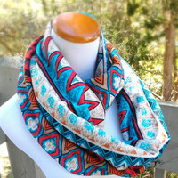 tribal aztec chevron knit infinity soft circle scarf