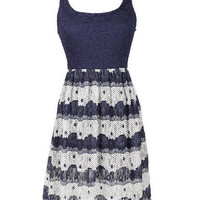 Navy Print Lace Dress