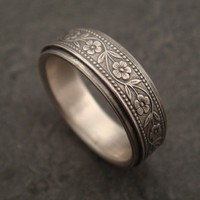 Floral Wedding Band in White Gold by DownToTheWireDesigns on Etsy