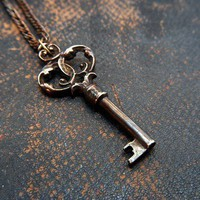 Skeleton Key Necklace Pendant Ornate Bronze by GwenDelicious