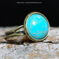 Turquoise Cabochon Adjustable Brass Ring - Good Fortune