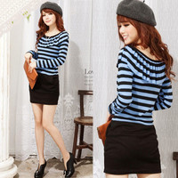 Casual Womens Striped Mini Dress Flouncing Neckline Cute Patchwork Trendy 15v