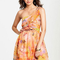 Watercolor One-Shoulder Dress
