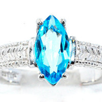 2 Carat Blue Topaz Marquise Ring .925 Sterling Silver Rhodium Finish White Gold Quality