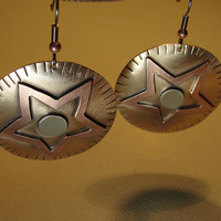 Medley of metals earrings with copper star on bronze and radiant sterling silver center
