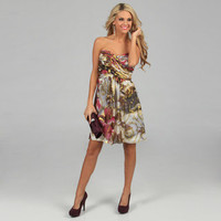 Xscape Women's Ivory Foil Printed Strapless Party Dress | Overstock.com