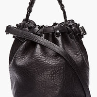 Alexander Wang Black Leather Matte Studded Diego Bucket Bag for women | SSENSE