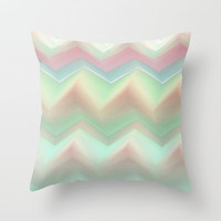 Pink & Aqua Zig-Zags Throw Pillow by Ally Coxon