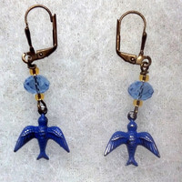 Brass Blue Bird Earrings -- Blue Swarovsky Crystal and Brass Earrings