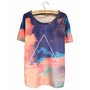 Buy Gradient Sky Geometric Print Slim Tshirt