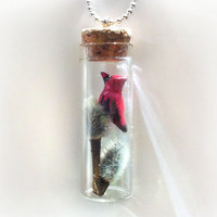 Cardinal and pussy willow branches bottle necklace, bird and tree winter scene vial pendant, nature&#x27;s treasure