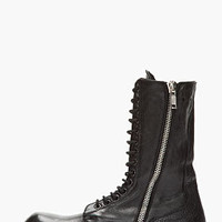Rick Owens Black Lace-up Army Combat Boots for men | SSENSE