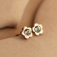 CZ Centre Flower Shape Titanium Steel Earrings