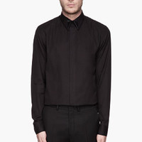 Givenchy Black Cuban-fit Poplin Silk Collar Shirt for men | SSENSE